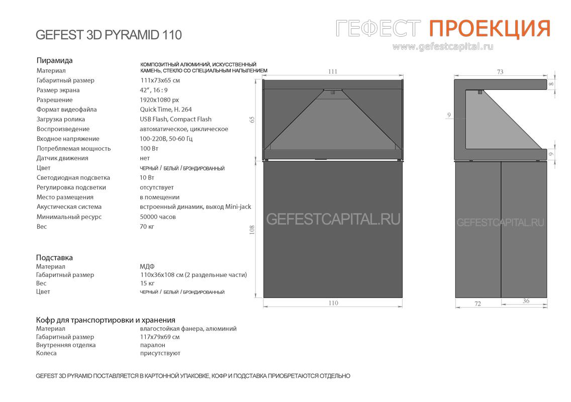 Голографическая пирамида размеры